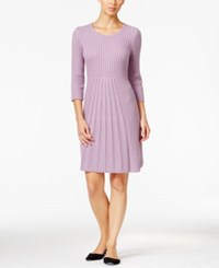 Ny Collection Petite Ribbed Fit And Flare Sweater Dress Sweet Lilac