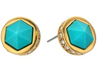 Lauren Ralph Lauren Match Point Round Stone Stud Earrings Gold Crystal Turquoise Earring Blue