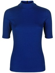 Jaeger Ribbed Jersey T Shirt Bright Blue