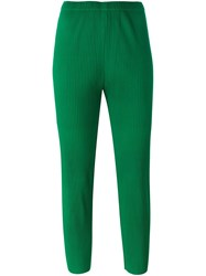 Issey Miyake Cauliflower Pleated Tapered Cropped Trousers Green