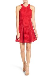 Chelsea 28 Women's Chelsea28 Lace Fit And Flare Dress Red Tomato