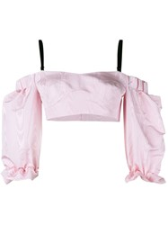 Alessandra Rich Silk Off Shoulder Top Pink And Purple