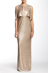 Abs By Allen Schwartz Sleeveless Ruffle Trim Sequin Gown Brown