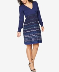 Seraphine Maternity Printed Dress Blue Zig Zag Print