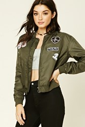 Forever 21 Patched Bomber Jacket