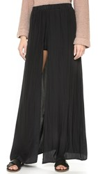 Ella Moss Extreme Lengths Maxi Skirt With Shorts Black