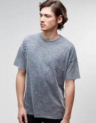 Asos Oversized T Shirt With Acid Wash And Distress In Gray Gray