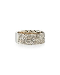 Men's Classic Chain Silver And Diamond Band Ring John Hardy