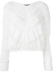 Jay Ahr Chevron Pattern Cropped Jumper White