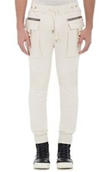 Balmain Men's Cargo Jogger Pants White