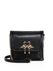 Sophia Webster Claudie Major Flamingo Leather Crossbody Bag Black