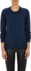 Barneys New York Cashmere Button Trimmed Sweater Blue