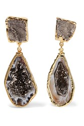 Dara Ettinger Gold Tone Stone Earrings Brown