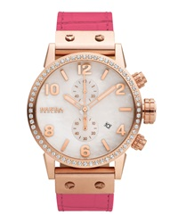 Brera Isabella 14K Rose Ip Diamond Watch With Alligator Strap Pink