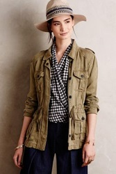 Anthropologie Belted Military Anorak Moss