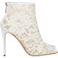 Dolce And Gabbana Lace Peep Toe Booties Natural