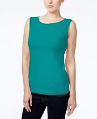 Karen Scott Petite Boat Neck Tank Top Only At Macy's New Teal