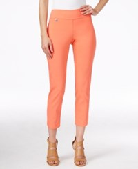 Alfani Petite Tummy Control Pull On Capri Pants Only At Macy's Coral Blast