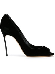 Casadei 'Blade' Peep Toe Pumps Black