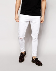 Asos Super Skinny Jeans With Knee Rips White