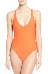 Junior Women's Volcom 'Simply Solid' One Piece Swimsuit