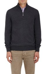 Barneys New York Men's Virgin Wool Mock Turtleneck Zip Front Sweater Dark Grey