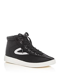 Tretorn Nylite Metallic Stripe High Top Sneakers Black Silver