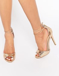 Ravel Ankle Tie Heeled Sandals Rose Gold