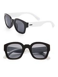 Minkpink 50Mm Two Tone Square Sunglasses Black White