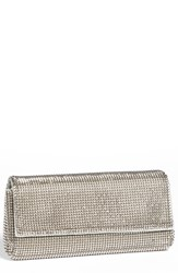 Whiting And Davis 'Pyramid' Mesh Clutch Metallic Pewter