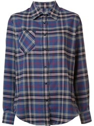Anine Bing Checked Shirt Blue