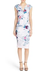 Women's Ted Baker London 'Acanthus Scroll' Floral Print Midi Dress Light Pink