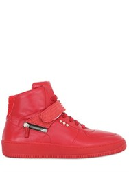 D S De Rubber Insert Leather High Top Sneakers