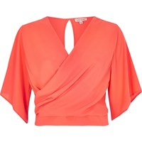 River Island Womens Fluro Pink Frilly Wrap Crop Top