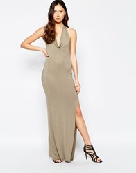 Love Cowl Neck Halter Dress Green
