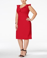 Love Squared Trendy Plus Size Ruffled Bodycon Dress Red