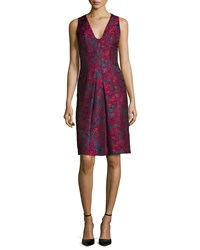 Carmen Marc Valvo Sleeveless Floral Print Cocktail Dress Size 6 Pink