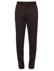 Burberry Slim Leg Cotton Chino Trousers Navy