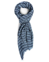 Selected Blue Striped Curtis Scarf