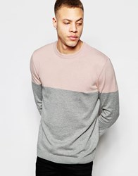 Asos Color Block Crew Neck Sweater In Cotton Pink And Gray