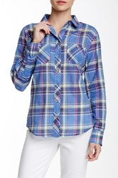 Sandra Ingrish Pocketed Plaid Button Shirt Blue