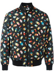 Love Moschino Space Print Bomber Jacket Black