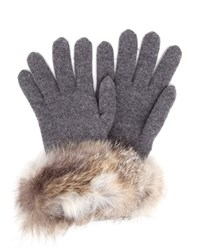 Inverni Wool Cashmere Gloves With Fur Trim Grey Black Natural