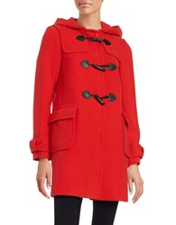 Kate Spade Hooded Wool Blend Mid Length Toggle Coat Lollipop Red