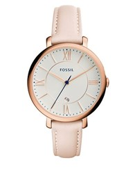 Fossil Jacqueline Rose Goldtone Stainless Steel Pink Leather Strap Watch Es3988