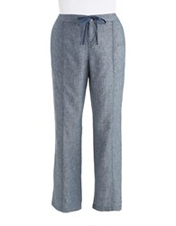 Lord And Taylor Chambray Linen Pants With Drawstring Waist Nightfall