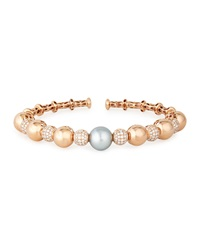 18K Rose Gold Tahitian Pearl And Diamond Bangle Yoko London