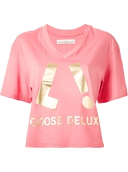 Golden Goose Deluxe Brand Print T Shirt Pink And Purple