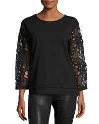 Alberto Makali Lace Sleeve Pullover Top Black