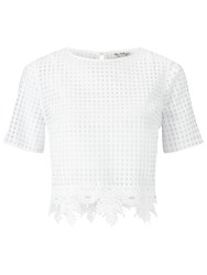 Miss Selfridge Organza Checked T Shirt White